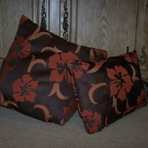 Reduced Gorgeous (2) Brown/rust Floral Couch/bed Pillows Photo