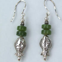 Reduced Price Jade and Hill Tribes Silver Dangle Earrings Photo