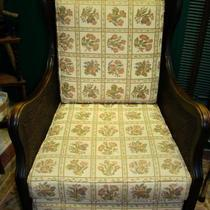 Reupholstered 1880s Victoria Antique Caned Black Walnut Arm Chair  Photo