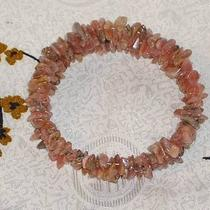 Rhodochrosite  Chips - Memory Wire Wrap Bracelet -Bold - Primitive - Large Photo