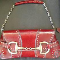 Rina Rich Horse-Bit Buckle Clutch/shoulder Handbag in Burgundy Color Photo