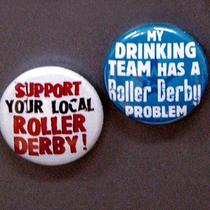 Roller Derby Magnets (Set of 2 1 Inch White and Blue Combo) Photo