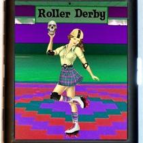 Roller Derby Skater Girl Pinup Holding Skull in a Roller Rink Punk Rock Kickass Attitude Skating Black Metal Cigarette of Id Card or Wallet or Ipod Nano and Earbuds Holder Case Photo