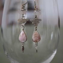 Rose Quartz Silver Alpaca Earrings Photo