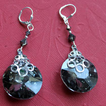 Round Facted Black Diamond Crystal Earrings (Silver Tone) Photo
