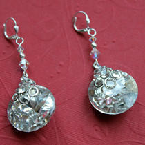 Round Facted Crystal Earrings (Silver Tone) Photo