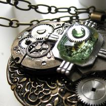 Round Steampunk Antique Brass Medallion Necklace Photo