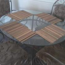 ROUND TABLE W/GLASS TOP AND CHAIRS Photo