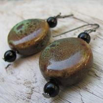 Rustic Porcelain Disk Earrings Photo