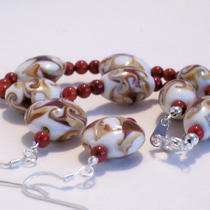 Sale Sale  Deep Red Caramel White Discs Bracelet and Earrings Set - Ooak Photo