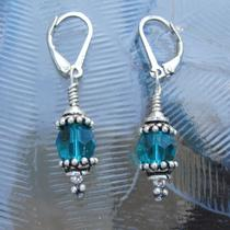 Sale - Sterling Swarovski Crystal Earrings - Indicolite Teal Photo