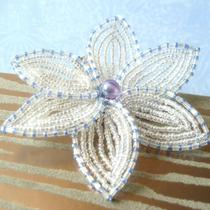 Sapphire Ice - French Beaded Flower Hair Clip Photo