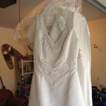 Satin Wedding Dress Size 8 Platinum/white Photo