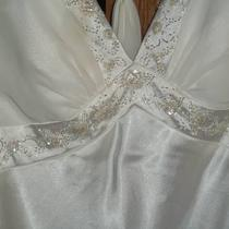 Satin White Wedding Dress Size 14 Altered for Short Girls Photo