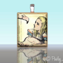 Scrabble Tile Pendant - Alice in Wonderland No. 15 - Charm Photo