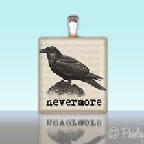 Scrabble Tile Pendant Poe Raven Nevermore Custom Charm Photo
