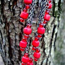Serpent Flowing -- Scarlet and Charcoal Chainfall Earrings 2-Pair Set Photo