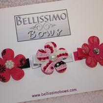 Set of 3 - Pink Flower Clips Photo