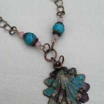 Shell Necklace with Turquoise Beads Photo