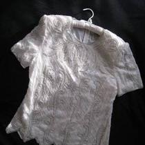 Silk Blouse - White &ampamp Silver Bead Trim From Beverly Hills - Ladies L Photo