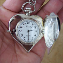 Silver Plated Heart Shaped Watch Locket Necklace Photo