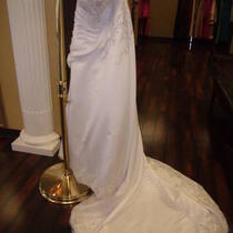 Size 18 Brand New/never Worn Heavily Beaded White Satin Wedding Gown Photo