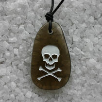 Skull Crossbones Engraved Smokey Quartz Gemstone Photo