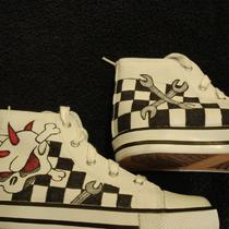 Skully Wrenches Checker Flags Tattoo Inspired Custom Designed Shoes Photo