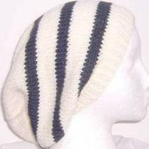 Slouch Beanie Wool White Black Stripe Hat Hand Knitted Beret  Photo