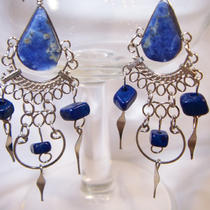 Sodalite Stone Dangle Earrings  Free Shipping Photo
