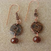 Solid Copper Dangle  Earrings Photo
