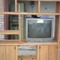 Solid Oak Entertainment Center Photo