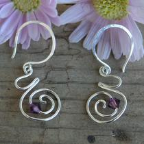 Spiral Birth / Pregnancy Earrings  Sterling Silver Original Earrings With Due Date Stones Photo