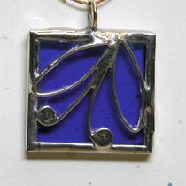 Stained Glass Pendant With Wireworked Design Photo