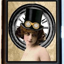 Steampunk Flapper Woman Whimsical Maiden Withtop Hat Cigarette Case or Id Case or Business Card Wallet Sweetheartsinner Photo