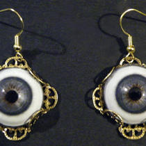 Steampunk Human Blue Life Size Glass Eye Gothic Earrings Photo