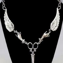 Steampunk Retro Victorian Winged Scissor Seamstress Necklace Photo
