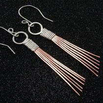 Sterling Silver and Copper Earrings Photo