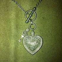 Sterling Silver and Diamond Crusted Heart Necklace Photo