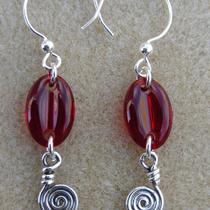 Sterling Silver and Red Glass Earrings Photo