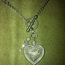 Sterling Silver Encrusted Heart Pendant Necklace Photo