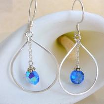 Sterling Silver Teardrop Hoops With Royal Blue Vintage Swarovski Crystals Photo