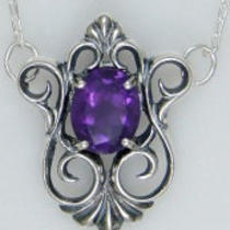 Sterling Silver Victorian Neck Piece With Faceted Stone Photo