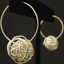 Sterling Silver Wire Ball Earrings- Small Hoop Photo