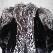 Stunning Mink Coat W/ Silver Fox Fur Trim Photo