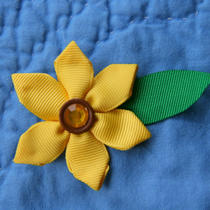 Sunflower Sparkle Ribbon Sculpture Hair Clip Photo