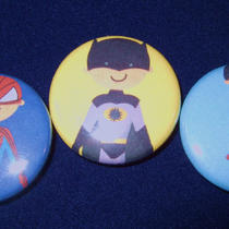 Super Hero Batman Superman &amp Spiderman Inspired Pinback Buttons--Set of 20 Photo