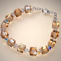 Swarovski Crystal Cube Bracelet Golden Shadow Photo