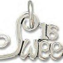 Sweet 16 Necklace Charm in Genuine .925 Sterling Silver Shipped Free Photo