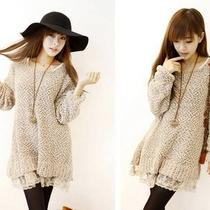 Sweet Lace Hem Long Sleeves Design women&amp039s Fleece Dress Photo